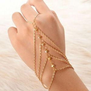 Boho Gold multi layer finger bracelet
